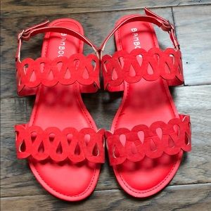 Red cutout sandals